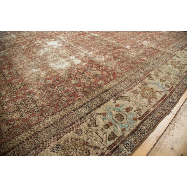 "Antique Distressed Mahal Carpet - 9' x 11'6"" For Sale - Image 5 of 10"