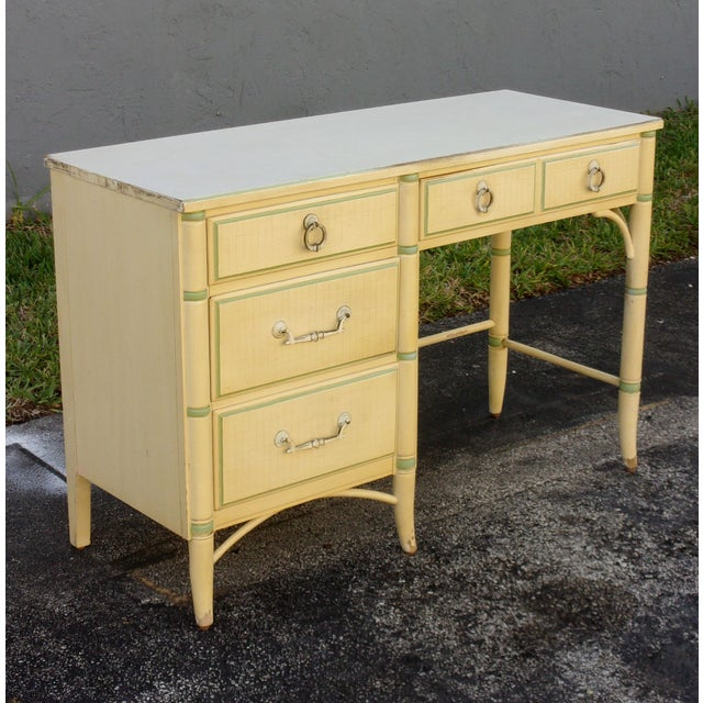 Mid-Century Faux Bamboo Cream Desk - Image 3 of 8