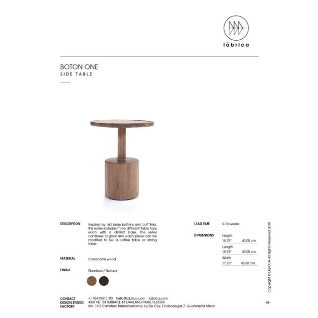 Boton One Side Table in Conacaste Solid Wood For Sale In Miami - Image 6 of 7