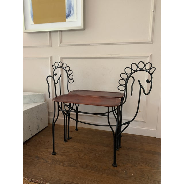1980s Vintage Leather and Iron Handmade Sculptural Horse Stools- A Pair For Sale - Image 4 of 6