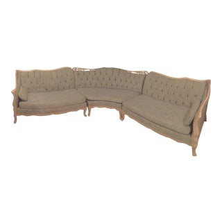 Vintage French Country L-Shaped Green Tufted Sectional Sofa For Sale