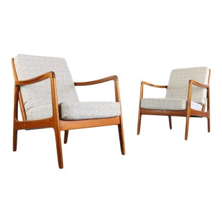 1960s Vintage Ole Wanscher for France & Son, Denmark Lounge Chairs- A Pair For Sale