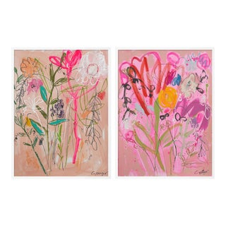 Wildflower Bouquet Diptych by Lesley Grainger in White Frame, Small Art Print For Sale