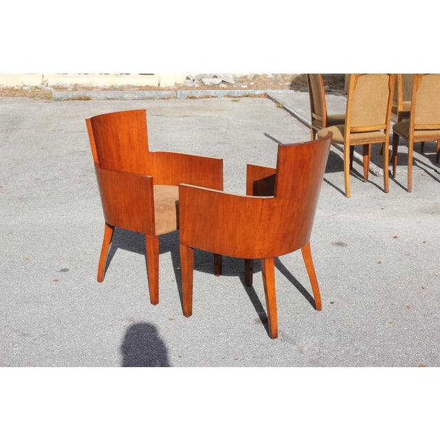 Pair of Solid Mahogany Ralph Lauren Modern Hollywood Armchairs . For Sale - Image 12 of 13