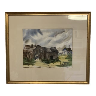 Mid-Century Modern Original Farmhouse Watercolor Painting Signed Ginnie Shilson C.1963 For Sale