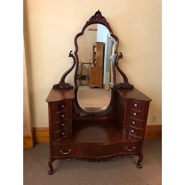 Antique Mahogany Jean Harlow Vanity For Sale - Image 10 of 10