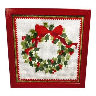 Vintage Christmas Wreath Framed Needlepoint Textile Art For Sale