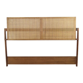 Jens Risom Mid Century Modern Walnut and Cane Full Size Headboard