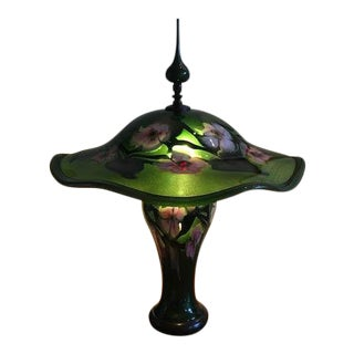 Charles Lotton Multi-Floral Art Nouveau Green Custom Lit Base Art Glass Table Lamp For Sale