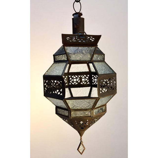 Handcrafted Moroccan Metal and Clear Glass Lantern, Octagonal Shape For Sale - Image 11 of 12
