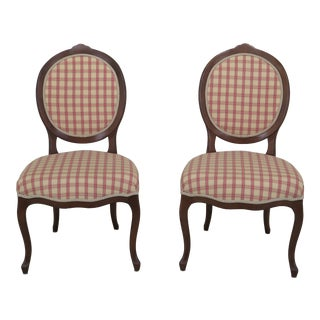 Modern Calico Corners French Style Upholstered Side Chairs- A Pair For Sale