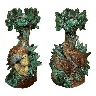 Late 19th Century Majolica Candle Sticks by Hugo Lonitz - a Pair For Sale