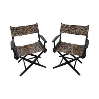 Mid-Century Leopard Print Folding Directors Chairs - Pair For Sale
