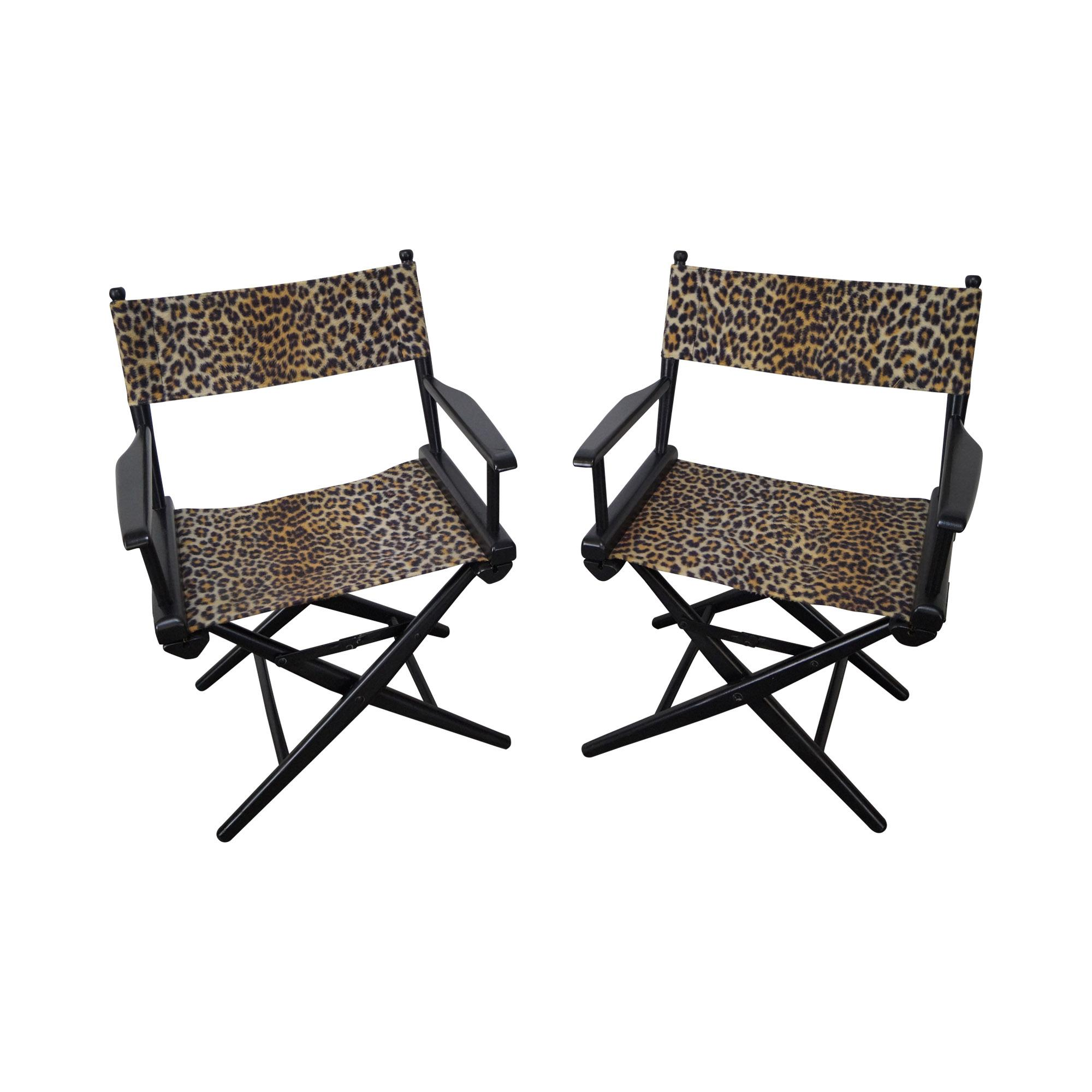 Mid Century Leopard Print Folding Directors Chairs   Pair