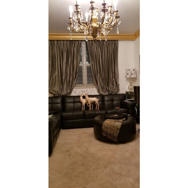 Final.Markdown Black Triple Box Stitch Leather Ralph Lauren Style Round Bench/Coffee Table For Sale - Image 10 of 11