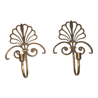 1970s Solid Brass Wall Sconces - a Pair For Sale