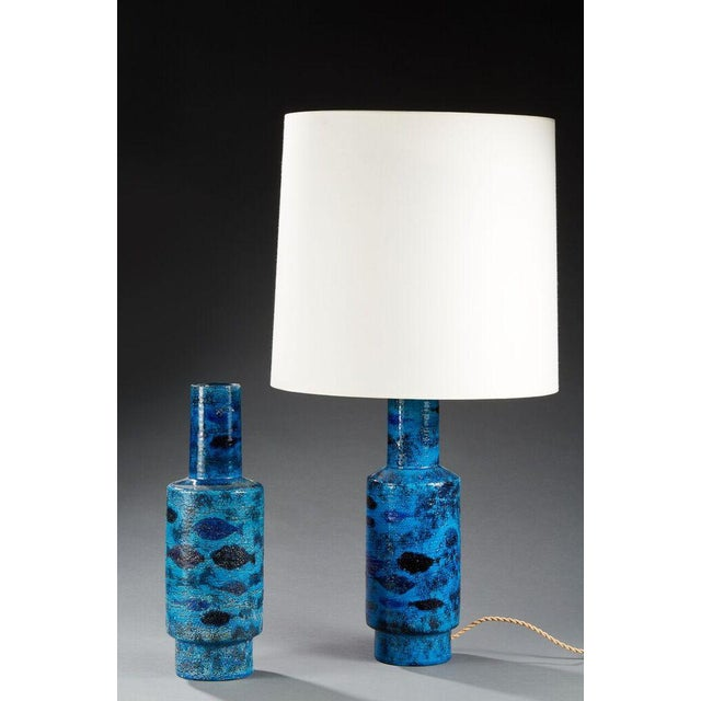 BITOSSI, Pair of ceramic vase, One mounted lamp, Circa 1950, Marine decoration.