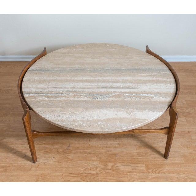 Stone Bertha Schaefer Travertine & Walnut Coffee Table For Sale - Image 7 of 12