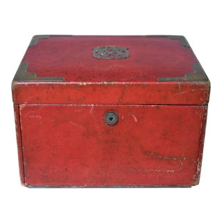 Antique English Leather Jewelry Chest For Sale
