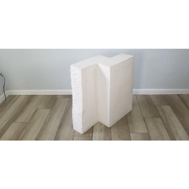 Postmodern Geometric White Plaster Pedestal For Sale - Image 12 of 12