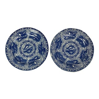 Mottahedeh Torquay Blue Plates, Pair For Sale