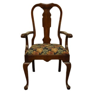 Late 20th Century Vintage Pennsylvania House Solid Cherry Queen Anne Arm Chair For Sale