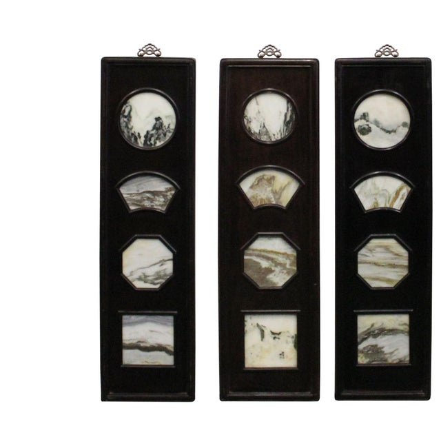 Rosewood Chinese Rosewood Dream Stone Scenery Wall Panel Set 4 Pieces For Sale - Image 7 of 8