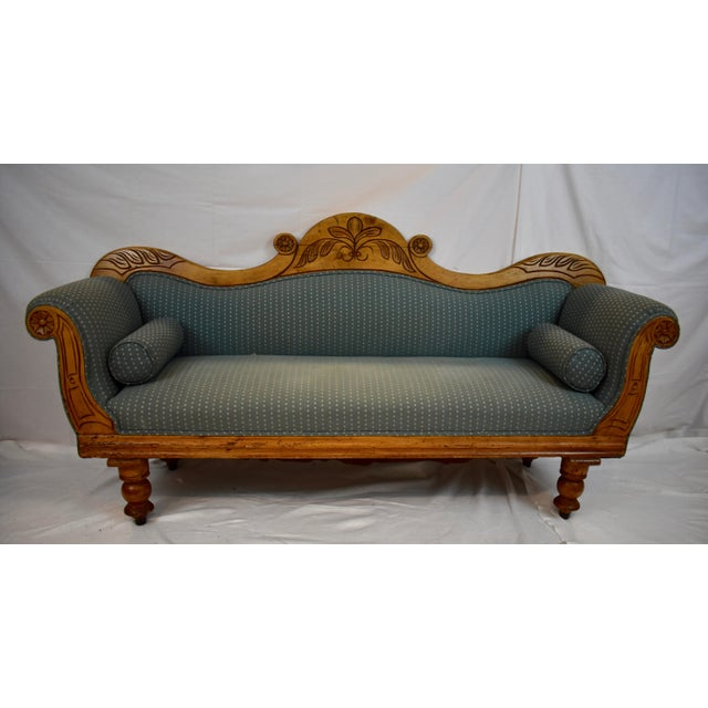 Late 19th Century Irish Pine Camelback Settee For Sale - Image 13 of 13