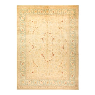 """Eclectic, One-Of-A-Kind Hand-Knotted Area Rug - Ivory, 10' 1"""" X 13' 10"""" For Sale"""