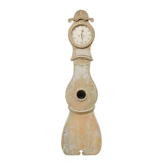 19th Century Northern Swedish Painted Wood Floor Clock For Sale