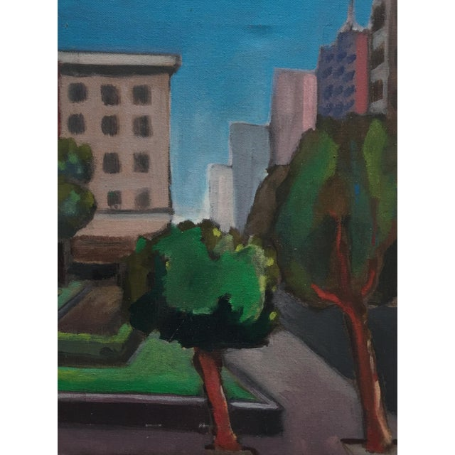 Vintage Painting of a Cityscape, Urban Highrise - Image 1 of 11