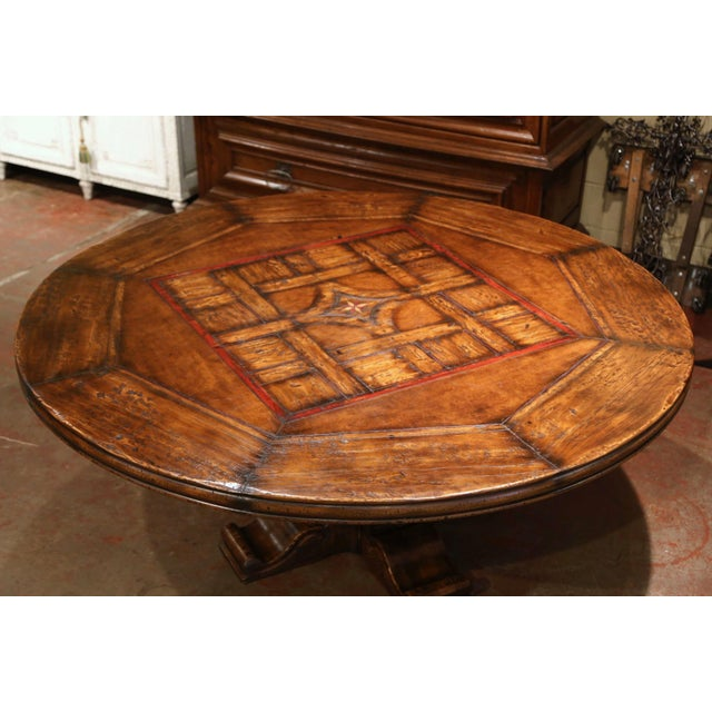 French Mid-Century French Carved Walnut Pedestal Round Dining Table With Parquetry Top For Sale - Image 3 of 13