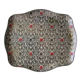 Vintage Paper Mache Tray With Roses For Sale