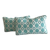 Image of HB Luxe Fabrics Aqua Kidney Pillows - A Pair For Sale