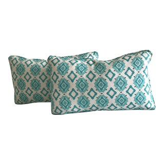 HB Luxe Fabrics Aqua Kidney Pillows - A Pair For Sale