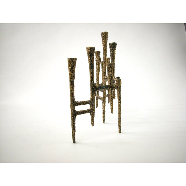 Brutalist Brass Trifold Menorah - Image 8 of 8