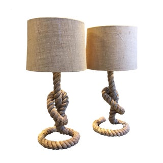 Pair of Knotted Rope Table Lamps with Shades