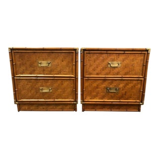 1970s Vintage Faux Bamboo an Rattan Campaign Chests-a Pair For Sale