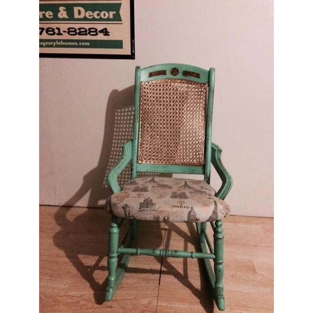 Shabby Chic Green Rocking Chair - Image 2 of 5