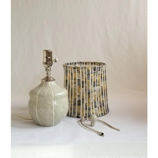 Shabby Chic Small Gray Table Lamp For Sale - Image 3 of 6