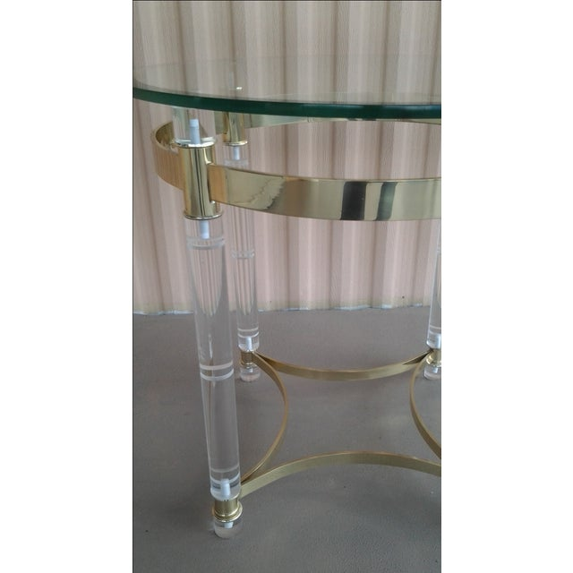 Vintage Lucite & Brass Occasional Table in the Manner of Charles Hollis Jones - Image 3 of 6