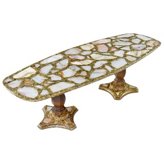 Hollywood Regency Onxy Abalone Shell Gold Glitter Arturo Pani Coffee Table For Sale