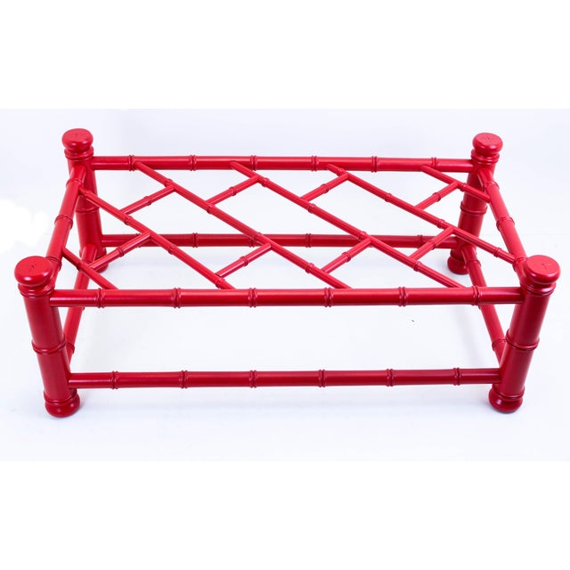 Palm Beach Style Coral Red Coffee Table For Sale - Image 4 of 9
