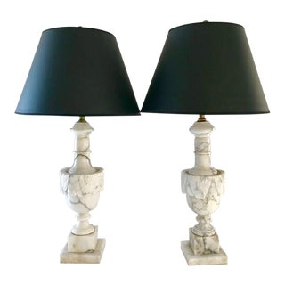 Antique Hand-Carved Carrara Lamps - A Pair For Sale
