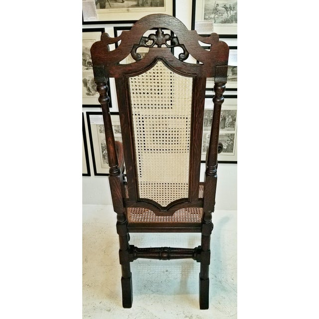 Wood 17th Century English William & Mary Oak and Cane Armchair For Sale - Image 7 of 13