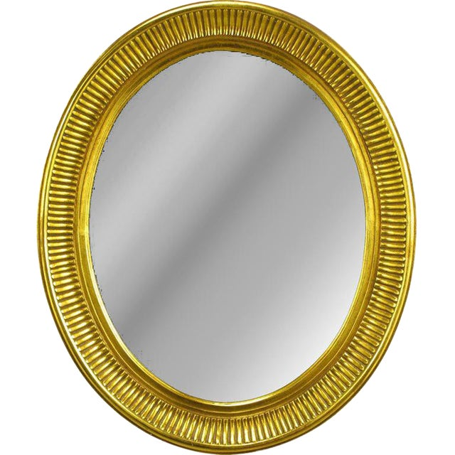 Carved Wood & Gilt Oval French Regency Style Mirror For Sale