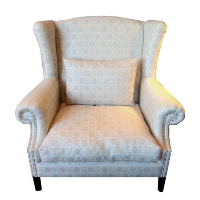 Eggshell Pattern Wingback Chairs - A Pair - Image 2 of 2