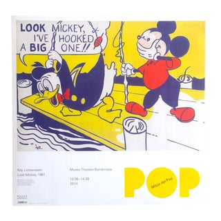 "Roy Lichtenstein Lithograph Print Museo Thyssen Myths of Pop Exhibition Poster "" Look Mickey "" 1961 For Sale"