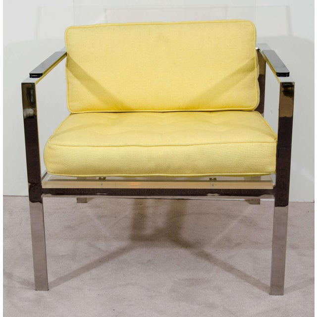 Modern Rare Pair of Modernist Lucite And Nickeled Bronze Chairs by Laverne For Sale - Image 3 of 10