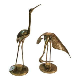 Vintage Brass Cranes- Set of 2
